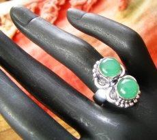 画像3: ログインで30%OFF♪ 1点もの グリーンオニキス指輪デザインリング16号*エスニック 天然石アクセサリー (3)