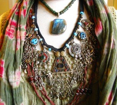 画像2: 砂漠の遊牧民アフガンじゃらじゃらネックレス*トライバルフュージョン衣装