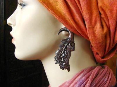 画像3: 全長約7cm!!不死鳥の羽デザイン♪トライバル木彫りピアス*天然素材*ベリーダンス衣装