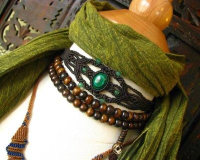 画像1: 邪気払いの石マラカイトと癒しの石アベンチュリンのナチュラルヒッピー編みブレスレット♪