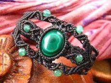 画像2: 邪気払いの石マラカイトと癒しの石アベンチュリンのナチュラルヒッピー編みブレスレット♪ (2)