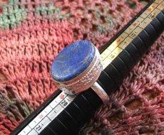 画像1: 神とつながる石*ラピスラズリのシルバーリング指輪サイズ18号*アフガン (1)