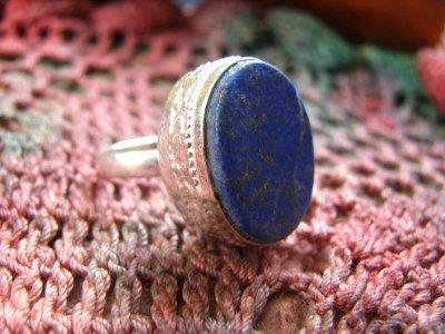 画像2: 神とつながる石*ラピスラズリのシルバーリング指輪サイズ18号*アフガン