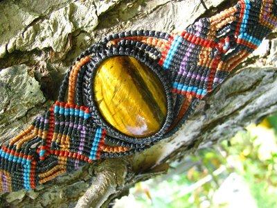 画像3: 全長4cm以上大ぶりタイガーアイのマクラメ編みブレスレット♪ヒッピー/ボヘミアン/旅人