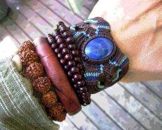 画像5: アフガン産ラピスラズリのマクラメ編みブレスレット*ボヘミアン/ヒッピー (5)