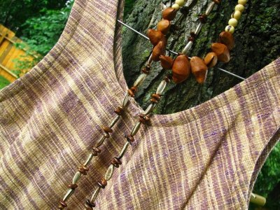 画像2: 日本より発送♪オーガニック&フェアトレード*手紡ぎ・手織りカディコットンハンドメイドワンピース*無農薬*スローファッション*エコロジー*エシカルファッション