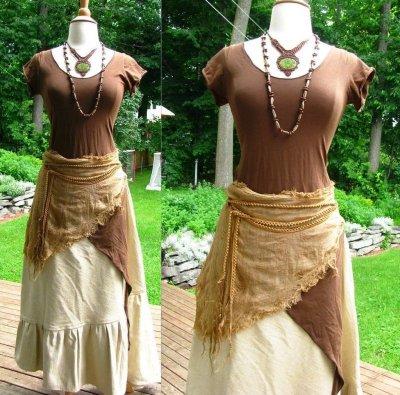 画像1: 地球に優しい手紡ぎ&手織りローシルクのアースカラーロングスカート*ピースシルク/ヴェジタリアンシルク*ヒッピー*ビーガン*ネイティブ