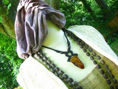 画像1: 1点物♪大きなバルト海産アンバー琥珀マクラメ編みネックレス*ヒッピー*ボヘミアン*旅人系