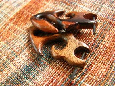 画像1: ナチュラルトライバル木彫りピアス*天然素材*オーガニック*エスニック