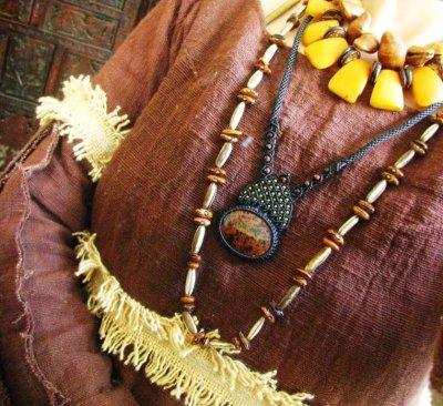 画像1: レッドフラワージャスパー&レッドタイガーアイのマクラメ編みネックレス*ヒッピー/ボヘミアン/パワーストーン/天然石