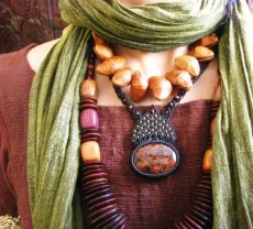 画像3: レッドフラワージャスパー&レッドタイガーアイのマクラメ編みネックレス*ヒッピー/ボヘミアン/パワーストーン/天然石 (3)