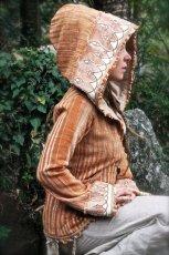 画像1: Mサイズ入荷♪手紡ぎ・手織りカディコットンのトライバル刺繍ビッグフードジャケット (1)