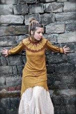 画像5: ハンドメイド♪ダンス衣装・パーティーにも♪チベット装飾紋様手刺繍入り上質ローシルクのターラ(多羅菩薩)ドレス*野蚕絹*エスニック*エコファッション*フェスティバル (5)