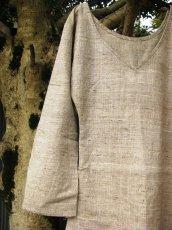 画像1: 日本より発送♪オーガニック&フェアトレード*手紡ぎ・手織りローシルク&カディコットンナチュラルワンピ*無農薬*エコファッション (1)