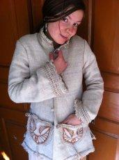 画像1: 残り1枚♪地球に優しい手紡ぎ・手織りヘンプのトライバル刺繍ジャケットエコファッション*エスニック*ボヘミアン (1)