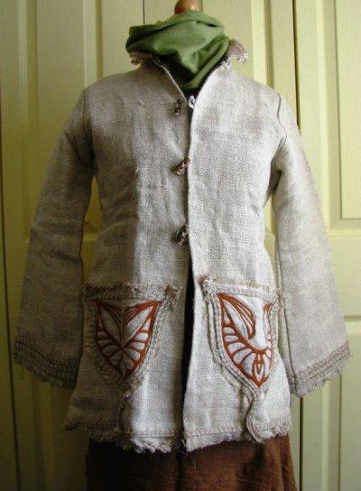画像2: 残り1枚♪地球に優しい手紡ぎ・手織りヘンプのトライバル刺繍ジャケットエコファッション*エスニック*ボヘミアン