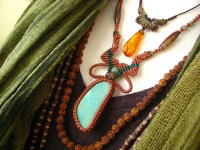 画像3: 大きなキングマンターコイズ&翡翠&アゲートのマクラメ編みネックレス*ボヘミアン*トラベラー