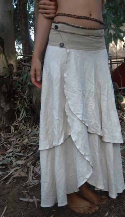 画像3: 日本より発送♪ローシルク&手織りコットンのナチュラルhandmadeスカート*エスニック*ボヘミアン*ジプシー*ヒッピー