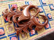 画像3: 全長6cm!!羽デザインのトライバル木彫りピアス/フェイクボディピアス*天然素材*ベリーダンス衣装 (3)