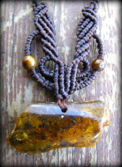画像3: 1点物バルト海産アンバー琥珀コハク原石のマクラメ編みネックレス*ヒッピー*ボヘミアン