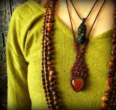 画像3: 日本より発送♪勇気と行動の石カーネリアンのマクラメ編みネックレス*天然石