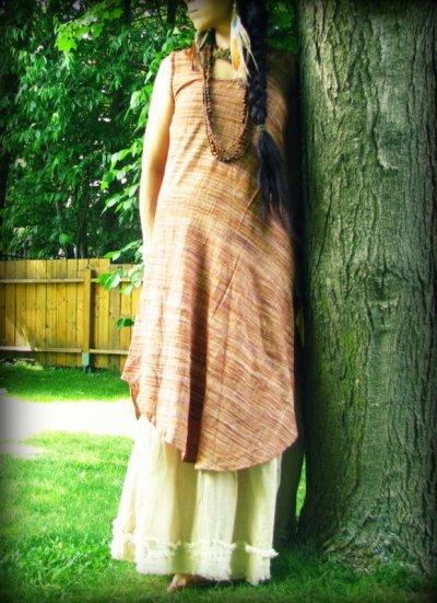 画像1: オーガニック&フェアトレード*手紡ぎ・手織りカディコットンハンドメイドワンピース*無農薬*スローファッション*エコロジー*エシカルファッション