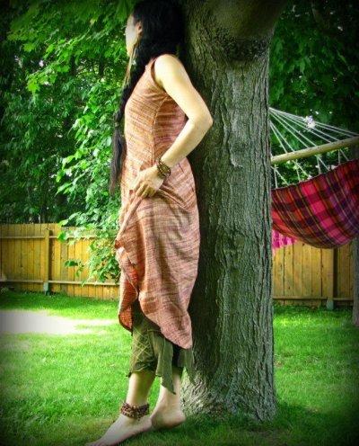 画像2: オーガニック&フェアトレード*手紡ぎ・手織りカディコットンハンドメイドワンピース*無農薬*スローファッション*エコロジー*エシカルファッション
