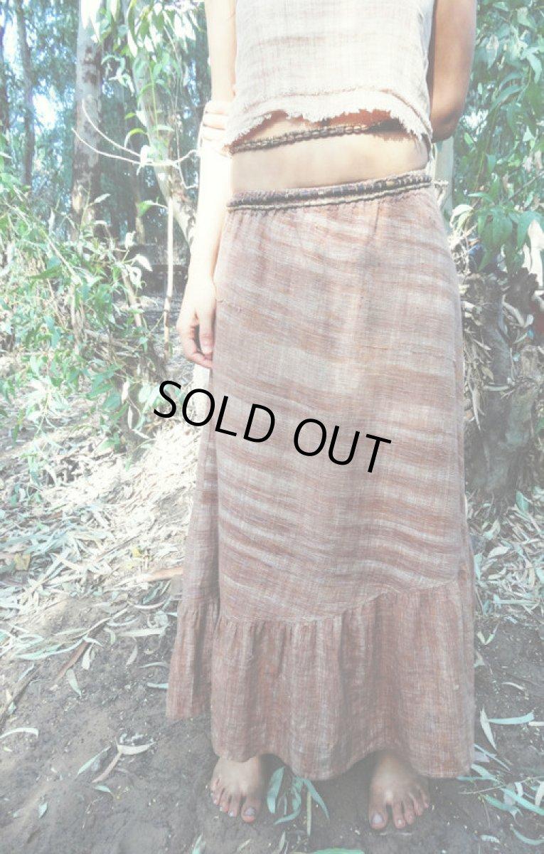 画像1: 新柄入荷♪手紡ぎ・手織りカディコットン ジプシースカート*無農薬*スローファッション*エコロジー*エシカルファッション (1)