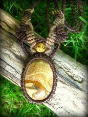 画像1: アースカラー★聖なる石ピクチャージャスパーのマクラメ編みネックレス*パワーストーン天然石 (1)