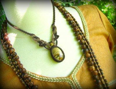 画像2: アースカラー★聖なる石ピクチャージャスパーのマクラメ編みネックレス*パワーストーン天然石