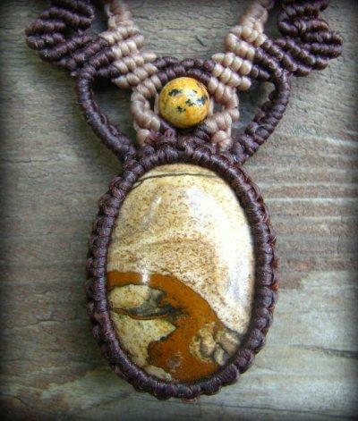 画像3: アースカラー★聖なる石ピクチャージャスパーのマクラメ編みネックレス*パワーストーン天然石