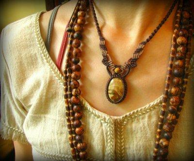 画像1: アースカラー★聖なる石ピクチャージャスパーのマクラメ編みネックレス*パワーストーン天然石