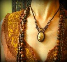 画像6: アースカラー★聖なる石ピクチャージャスパーのマクラメ編みネックレス*パワーストーン天然石 (6)