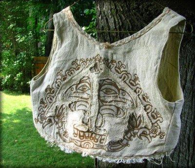 画像1: マヤ紋様手刺繍が個性的!!地球に優しい手織りリネン素材ベスト*トライバル*エスニック*無農薬オーガニック