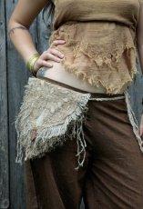 画像2: 残り1点☆ヒップバッグにもなる地球に優しい手紡ぎ・手織りヘンプ&ローシルクのhandmade妖精バッグ/ウエストバック/ピクシーバック (2)