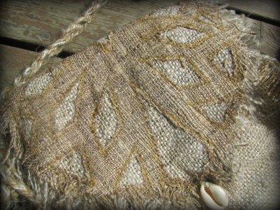 画像1: 残り1点☆ヒップバッグにもなる地球に優しい手紡ぎ・手織りヘンプ&ローシルクのhandmade妖精バッグ/ウエストバック/ピクシーバック