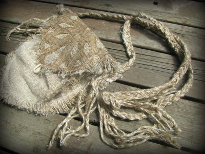 画像2: 残り1点☆ヒップバッグにもなる地球に優しい手紡ぎ・手織りヘンプ&ローシルクのhandmade妖精バッグ/ウエストバック/ピクシーバック