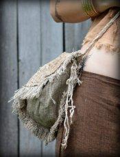 画像3: 残り1点☆ヒップバッグにもなる地球に優しい手紡ぎ・手織りヘンプ&ローシルクのhandmade妖精バッグ/ウエストバック/ピクシーバック (3)