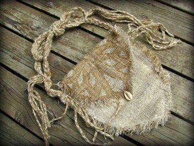 画像3: 残り1点☆ヒップバッグにもなる地球に優しい手紡ぎ・手織りヘンプ&ローシルクのhandmade妖精バッグ/ウエストバック/ピクシーバック