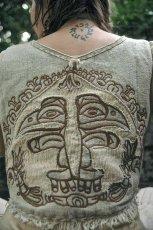 画像4: マヤ紋様手刺繍が個性的!!地球に優しい手織りリネン素材ベスト*トライバル*エスニック*無農薬オーガニック (4)