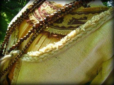 画像1: フェアトレードエコ素材バナナ繊維生地のトライバル刺繍ナチュラルフォークロアジャケット/カーデ/羽織り*エスニック*