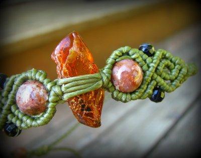 画像2: バルト海産アンバー原石/天然琥珀コハク&アゲートのマクラメ編みブレスレット