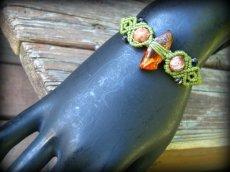 画像6: バルト海産アンバー原石/天然琥珀コハク&アゲートのマクラメ編みブレスレット (6)