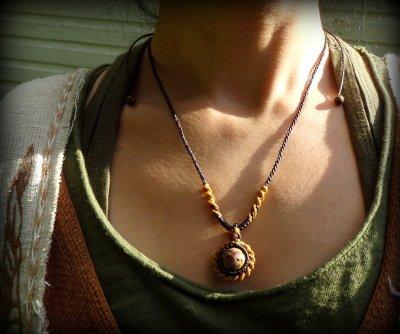 画像1: 和柄風模様が個性的★マダガスカル産オーシャンジャスパーのマクラメ編みネックレス*天然石*パワーストーン
