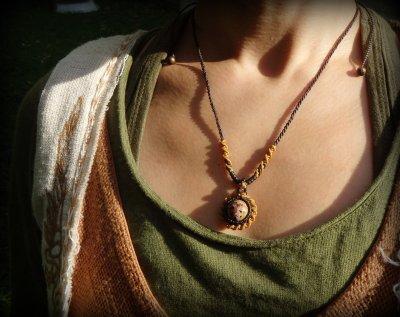 画像2: 和柄風模様が個性的★マダガスカル産オーシャンジャスパーのマクラメ編みネックレス*天然石*パワーストーン
