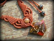 画像3: バルト海産アンバー琥珀原石&ルチルクォーツのマクラメ編みネックレス*ヒッピー*ボヘミアン (3)