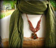 画像4: バルト海産アンバー琥珀原石&ルチルクォーツのマクラメ編みネックレス*ヒッピー*ボヘミアン (4)