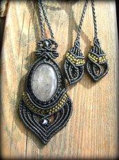 画像3: 浄化の石トルマリンインクォーツのマクラメ編みネックレス*水晶*トルマリンクォーツ (3)