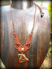 画像1: バルト海産アンバー琥珀原石&ルチルクォーツのマクラメ編みネックレス*ヒッピー*ボヘミアン (1)