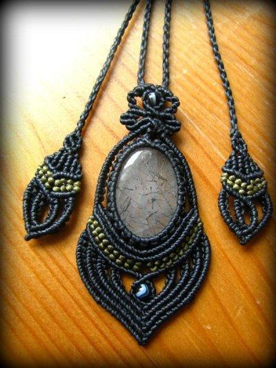 画像3: 浄化の石トルマリンインクォーツのマクラメ編みネックレス*水晶*トルマリンクォーツ